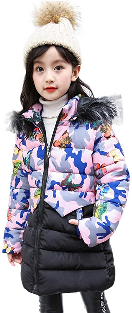 TOOPOOT Baby Girls Coats Toddler Kids Outfit Clothes Long Sleeve Cartoon Print Hooded Coat Tops