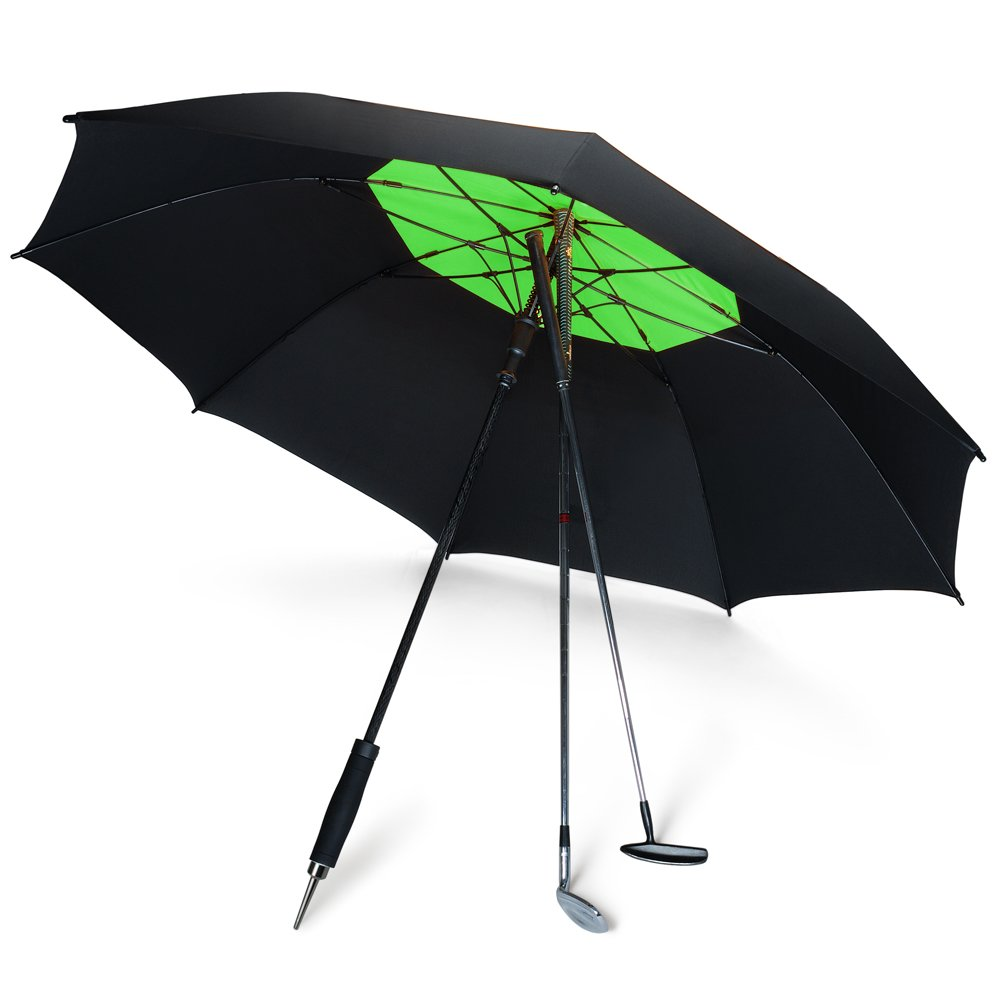 DAVEK GOLF UMBRELLA (Black/Sport Green) - Extra Large Double Canopy Umbrella, 62 Inch Coverage with Automatic Open, Windproof Tested 60 MPH