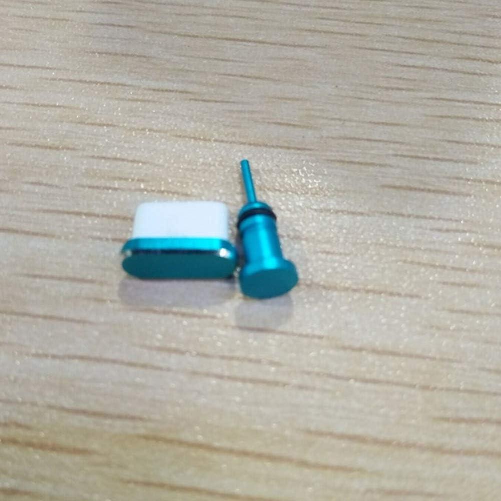 Mini Office Depot Aplicable a Huawei Samsung Puerto de Carga Auriculares Tapón de Polvo USB C Tipo Interfaz y 3.5mm Auriculares Enchufe (Dos Juegos) - Azul