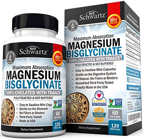 Magnesium Bisglycinate 100% Chelate No-Laxative Effect. Maximum Absorption & Bioavailability, Fully Reacted & Not Buffered. Sleep, Energy, Anxiety, Leg Cramps, Headaches. Non-GMO Project Verified (Best Magnesium For Depression)