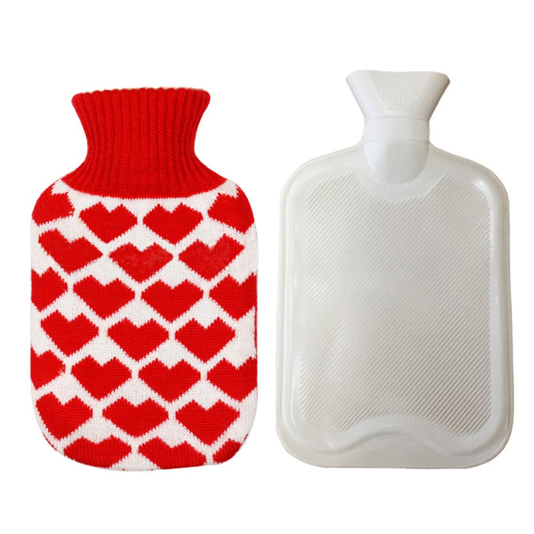 Hot Water Bag Cute Hot Water Bottle with Cover 0.5l Removable Portable Hot Water Bottle for Kids Men Women Best Christmas Birthday Mothers Day and Valentines Day Gift Mini Hot Water Bottle
