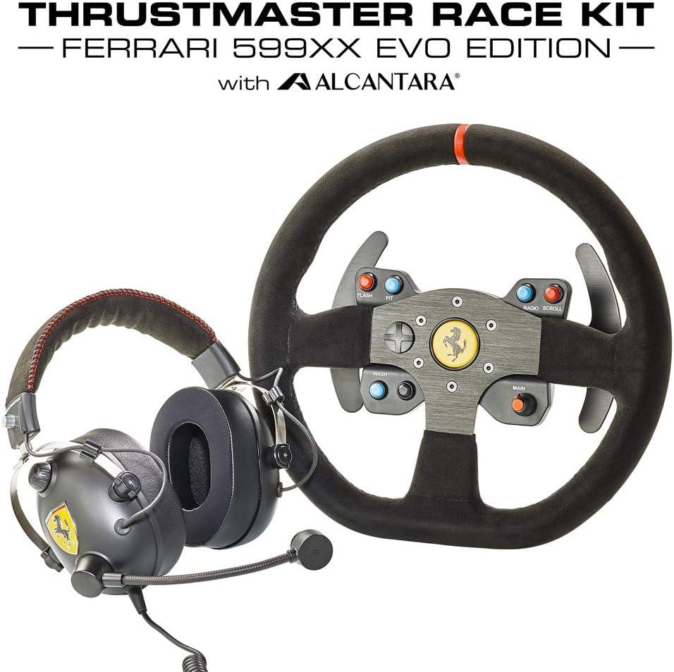 Thrustmaster Race Kit - Volante de carreras: replica desmontable del volante 599XX EVO Alcantara + auriculares multiplataforma Scuderia Ferrari acabado en negro mate y diadema de Alcantara (Windows)