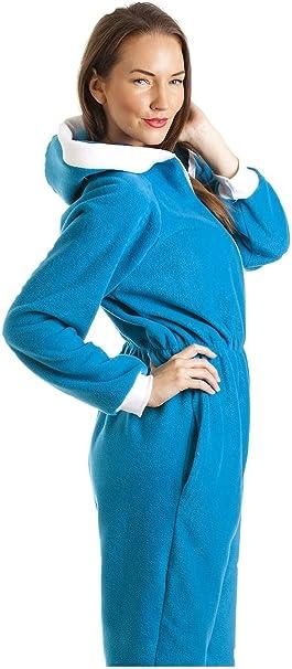 TALLA 42-44. Pijama Supersuave de una Pieza - con Capucha - Azul