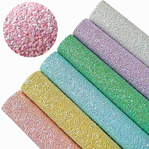 [해외]AOUXSEEM Chunky Glitter Sequins Fabric Faux Leather Sheets【6 PcsA4 Size】Gorgeous Synthetic Craft Fabric Thick Canvas Back for DIY Earrings Bows Jewelry Making21 cm x 30 cm(8 x 12) / AOUXSEEM Chunky Glitter Sequins Fabric Faux Lea...