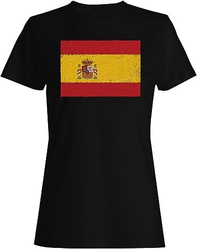 INNOGLEN Nueva Bandera De España Arte Camiseta de Las Mujeres i221f: Amazon.es: Ropa y accesorios