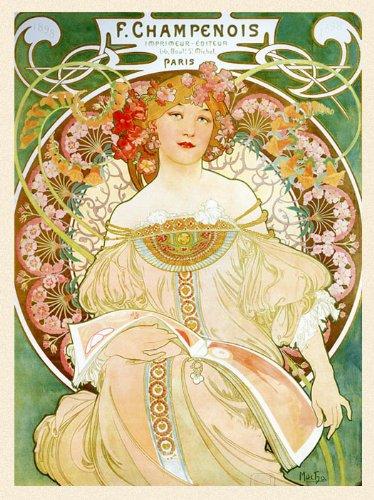 1897 Lady Book Flowers F Champenois Paris French France By Alphonse Mucha Was a Czech Art Nouveau Painter and Decorative Artist 20