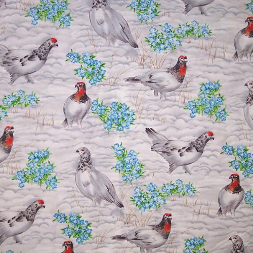 44 Wide Fabric, the State Birds Willow Ptarmigan, Fabric By the Yard by Suzan Ellis   B0086W83ZI
