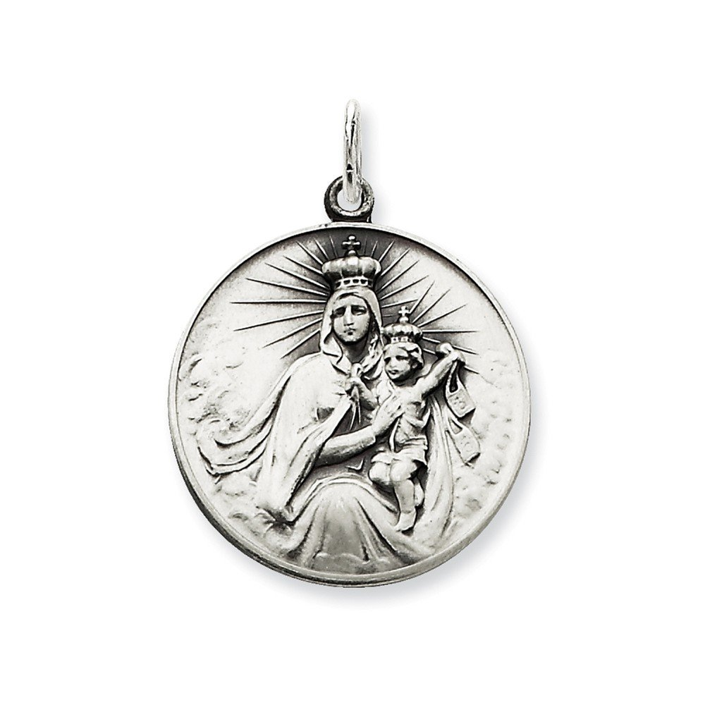 .925 Sterling Silver Antiqued Our Lady of The Holy Scapular Medal Charm Pendant