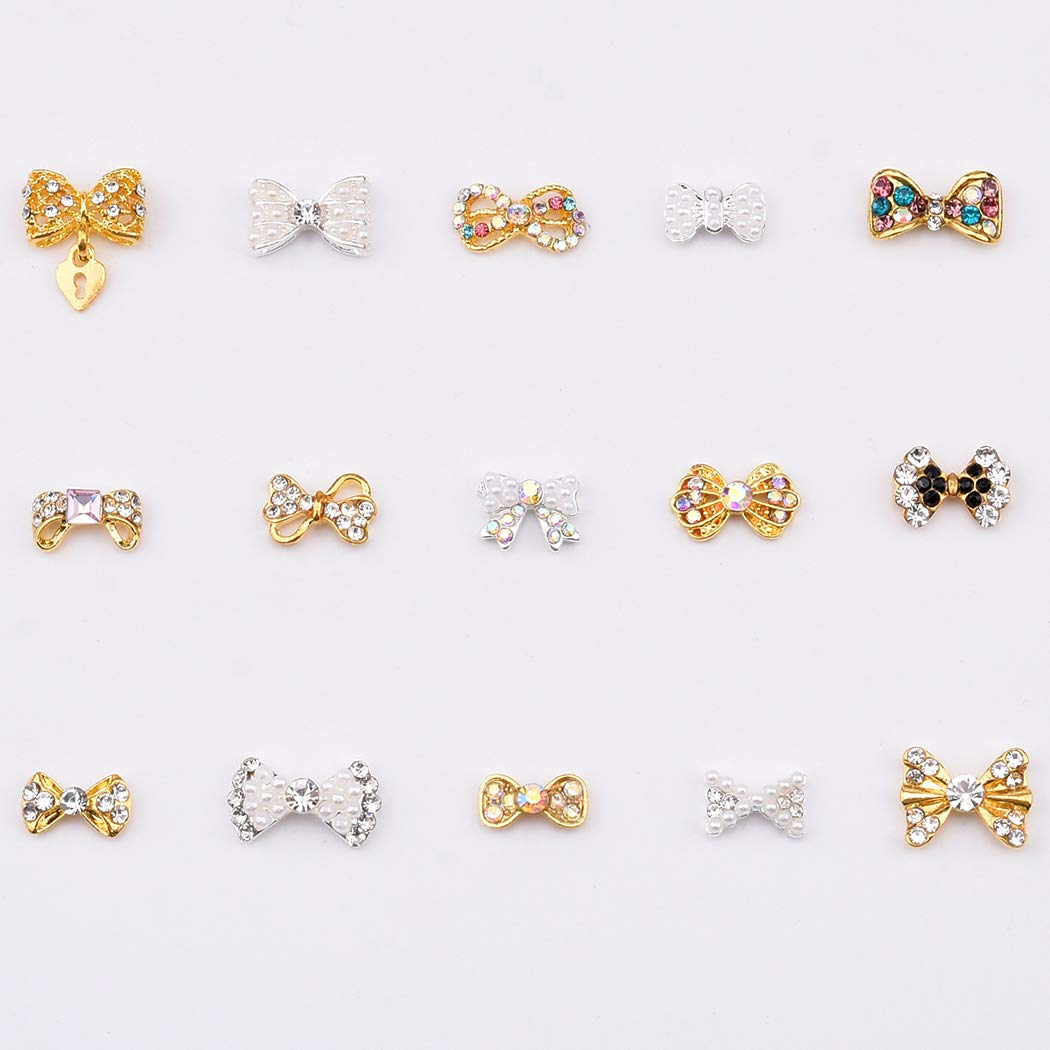 Mix 15 Designs Crystal ab Rhinestones Alloy Gold 3d Nail Charms Bows Silver Pearls Jewel Decals for Nail Art 30pcs by TEEKME