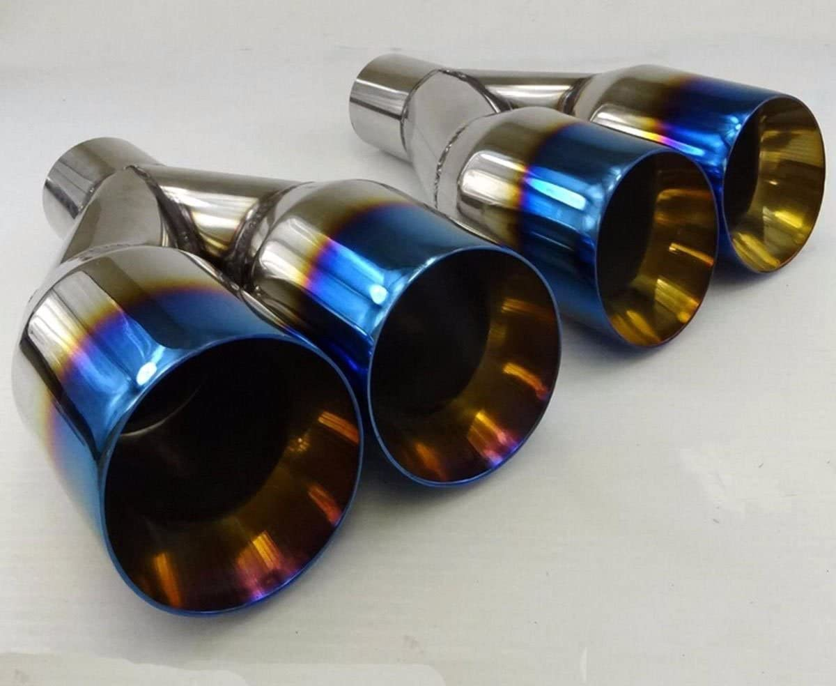 """2X Polished Stainless Steel 2.5/""""X 3.5/"""" Exhaust Single layer Slant Tip Blue Burnt"""