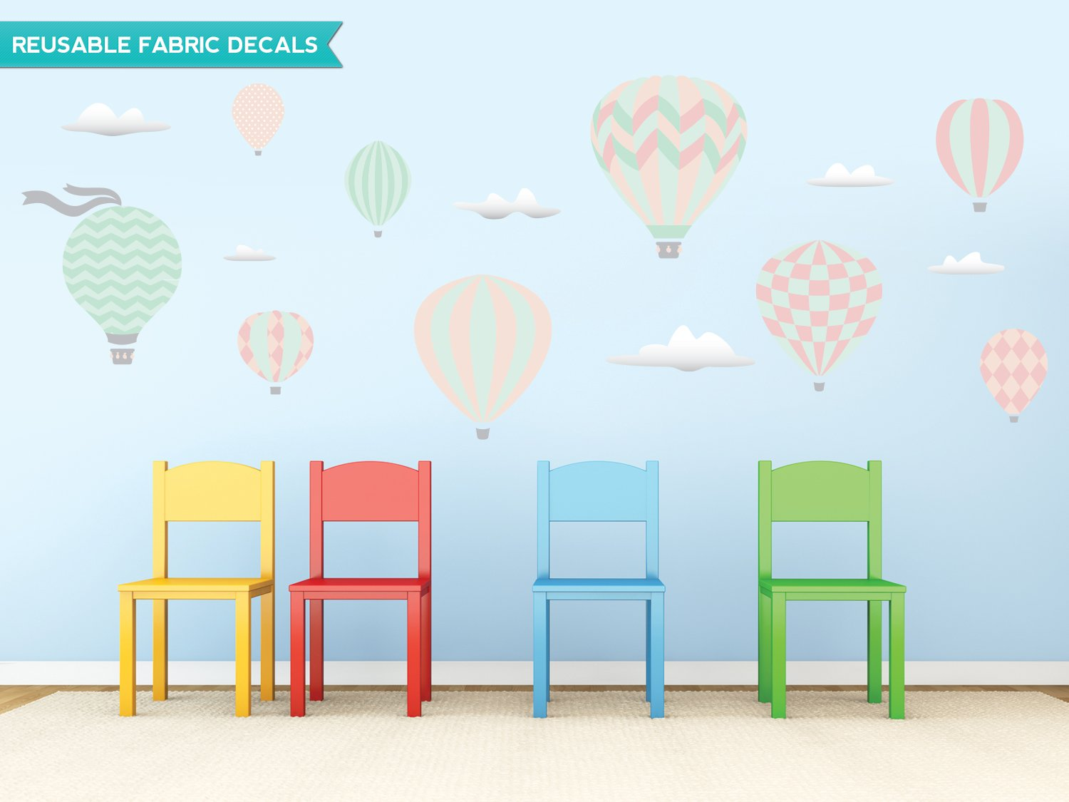 Amazon: Sunny Decals Hot Air Balloons Fabric Wall Decals, Standard,  Pastel: Home & Kitchen