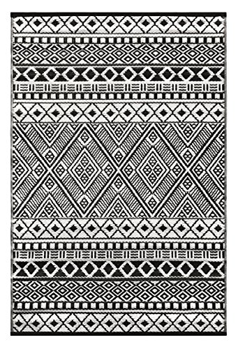 Green Decore Lightweight Outdoor Reversible Plastic Relic Rug (4 x 6, Black/White) by Green Decore