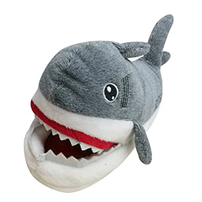 Novelty Shark Slippers for Mens Womens Adult Funny Plush Soft Warm Shoes  Footwear Shark 35- 0729e46148