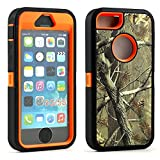 Apple iPhone SE/5G/5S Defender Case, iPhone 5 Heavy Duty Military Armor Hunting Camouflage Shockproof High Impact Resistant Hybrid Dual Layer Case Cover for Apple iPhone SE 5G 5S 5 (Orange)