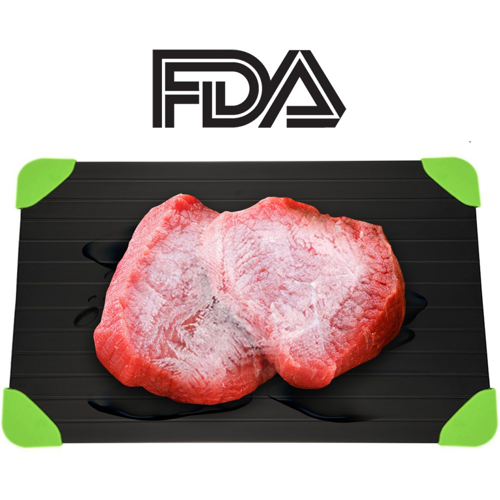 Rapid Defrosting Tray For Fast Thawing Meat Or Frozen Food-Safety, Economic, No Electricity, No Lost Food Flavors, With Green Silicone Border YiaMia