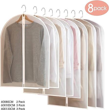 Dustproof Clear Garment Suit Cover 60 x 45 cm BangShou 6 Pack Clothes Cover PEVA Dresses Coat Protector Bags,Waterproof Closet Organizer Washable