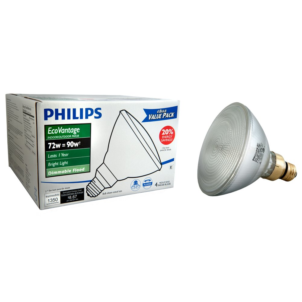 Philips 428805 Halogen PAR38 90 Watt Equivalent Dimmable Flood Standard Base Light Bulb, 4-Pack