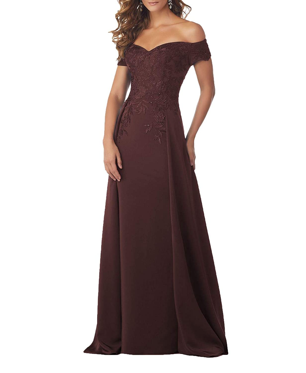 Brown Wanshaqin Women's Off The Shoulder Sweetheart Evening Gown Formal Wedding Party Dress for Brides with Cloak Back Tail