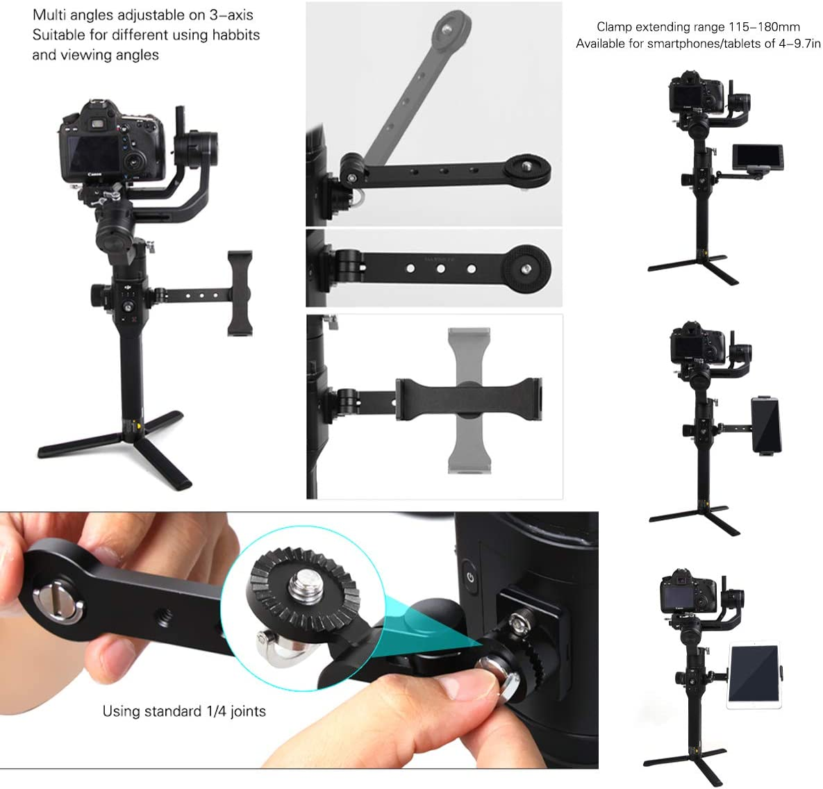 Microphone Tablets Handle Grip Extension Bracket with Adapter Ring Clamp Mount to Clip Smartphone LED Video Light Darkhorse Accessories Set for Mounting Monitors Compatible with DJI Ronin S