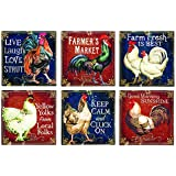 Canvas Prints Wall Art, Wrapped on Stretcher Bars - STRAIGHT FROM THE ROOSTER TABLE WALL CANVAS, Set Of 6 - Decorative Canvas Art Print - Ready to Hang Wall Decor 6 X 6 X 1 1/8 Inch