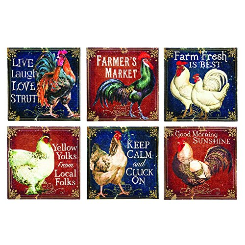 Canvas Prints Wall Art, Wrapped on Stretcher Bars - STRAIGHT FROM THE ROOSTER TABLE WALL CANVAS, Set Of 6 - Decorative Canvas Art Print - Ready to Hang Wall Decor 6 X 6 X 1 1/8 Inch - Canvas Rooster Print Set