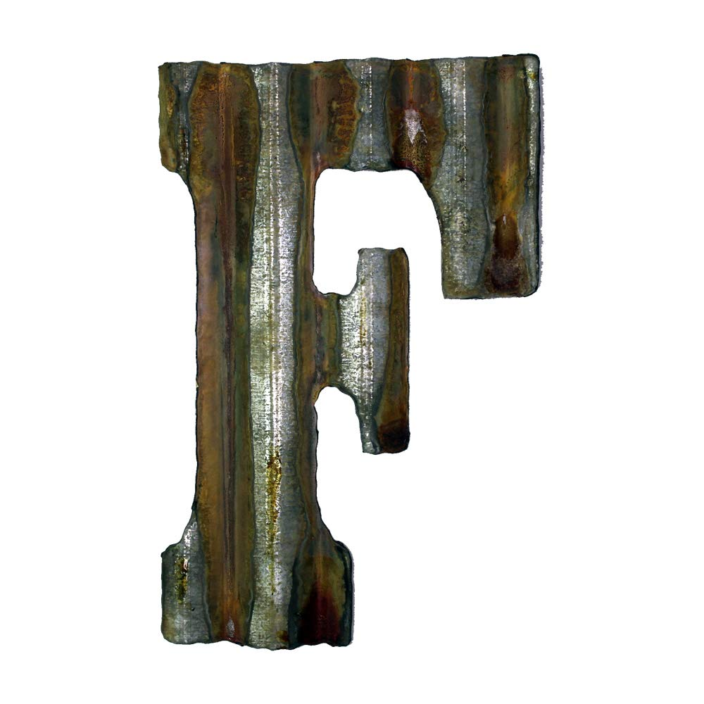 Custom Cut Decor 8'' Rusty Galvanized Corrugated Metal Letter -F