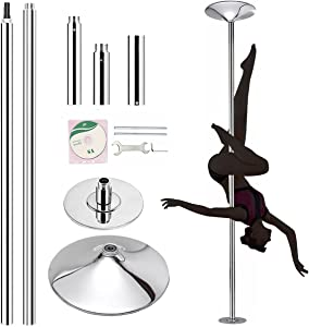 FICISOG Professional Stripper Pole Spinning Static Dance Pole, 45mm Removable Portable Dancing Poles for Exercise Home Club Party Pub, Load Over 400 lbs