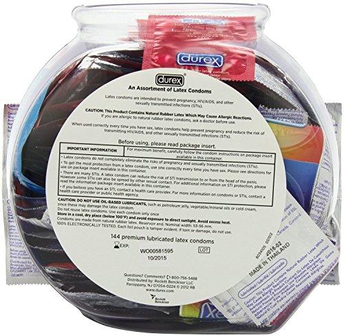 Durex Variety Fish Bowl, Assorted Premium Lubricated Condoms, 288 Count Pack