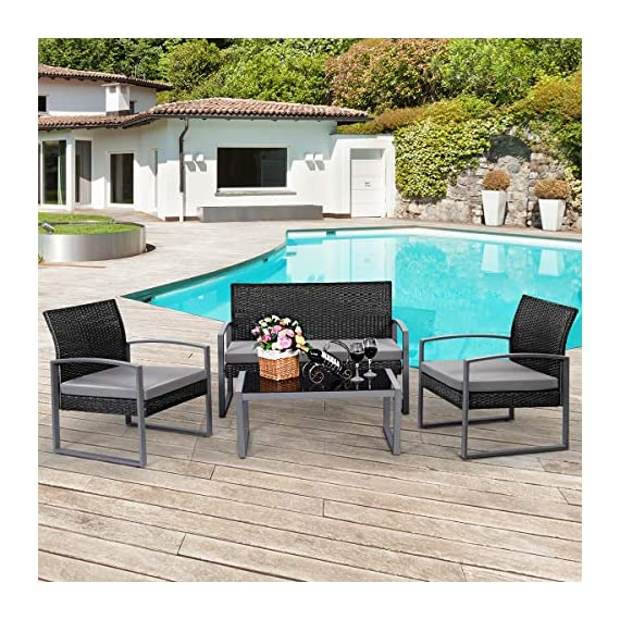 Tangkula 4 PCS Outdoor Patio Furniture Rattan Wicker Conversation Set, As pic - Attractive appearance: equipped with 1 loveseat, 2 chairs and 1 Coffee Table, It is made up with solid steel frame and PE wicker with sponge cushions ensuring a long lifetime. Its stylish armrests and moderate-reclining backrest double the comfort for you to totally relax yourself and make it more eye-catching. Easy carry: Made of lightweight Rattan material, it can be carried easily and labor-efficiently to the desired place. Its compact structure and beautiful texture can surprisingly highlight your patio or poolside Deco. Moment to clean: table with removable tempered glass adds a sophisticated touch and allows you to places drinks, meals and other accessories on top. And you can clean it easily with just a wipe when there is water strain on it. The separable Seat cushion also enables you a quick wash. - patio-furniture, patio, conversation-sets - 61QHTnmtQQL. SS570  -