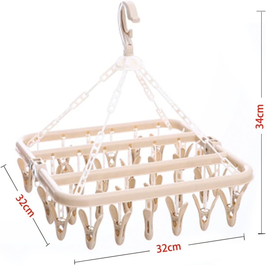 Gloves Wind-Proof Laundry Drying Rack Plastic Clothes Hanger Pegs for Socks Yooha Hanging Drying Rack with 32 Clips Bras Underwear Baby Clothes Beige
