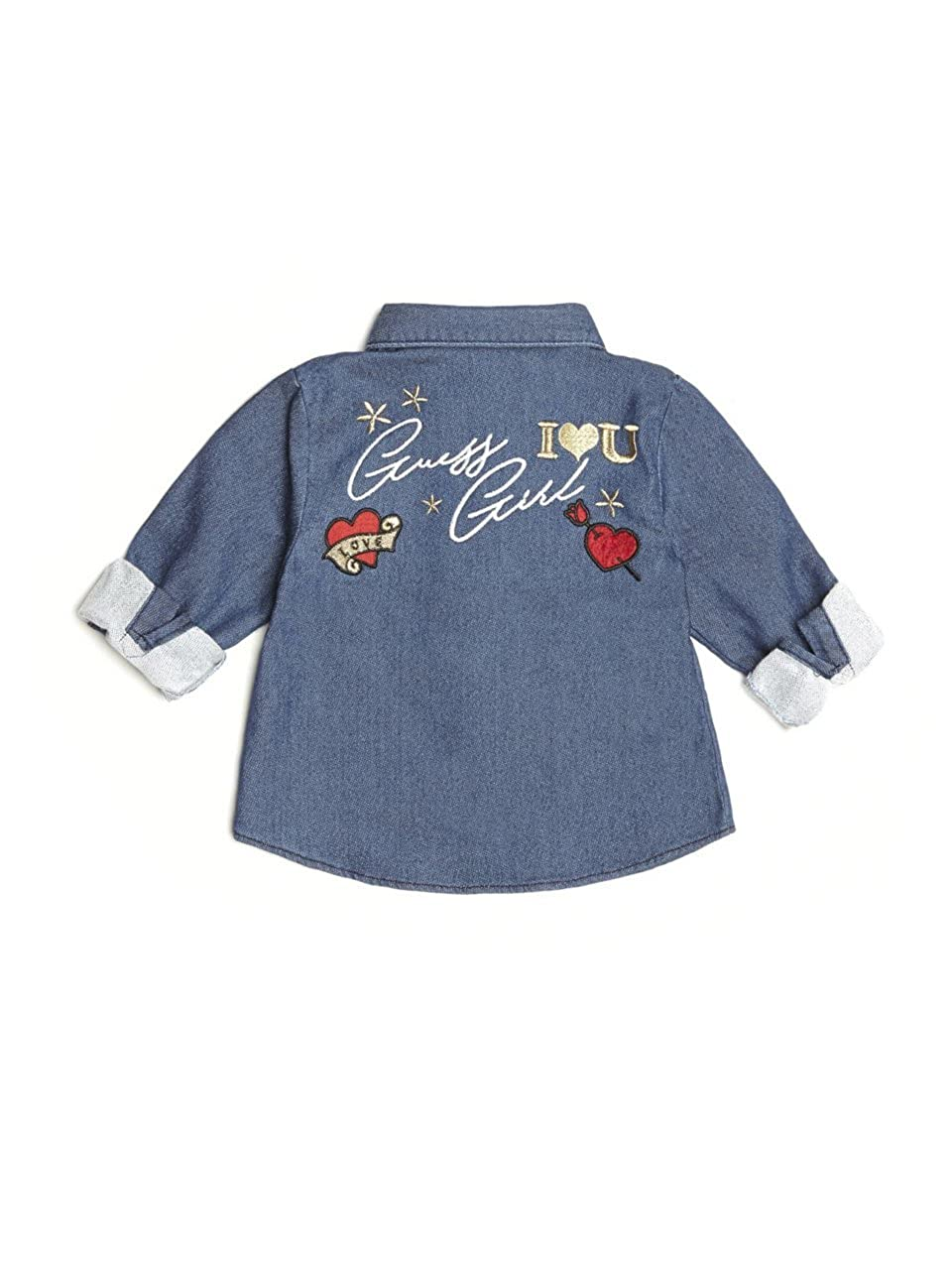 GUESS Girls Little Roll Sleeve Embroidered Ruffle Top