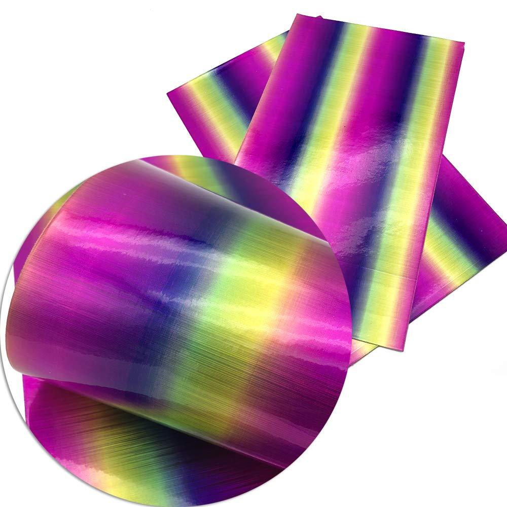 BULIAOHAO telas para patchwork Accesorios de tela 20 34 cm Rainbow Fish Scales Stripe Vinyl Faux Tela de cuero sint/ética Diy Prenda Nudo Bow Bolsas 1062157001