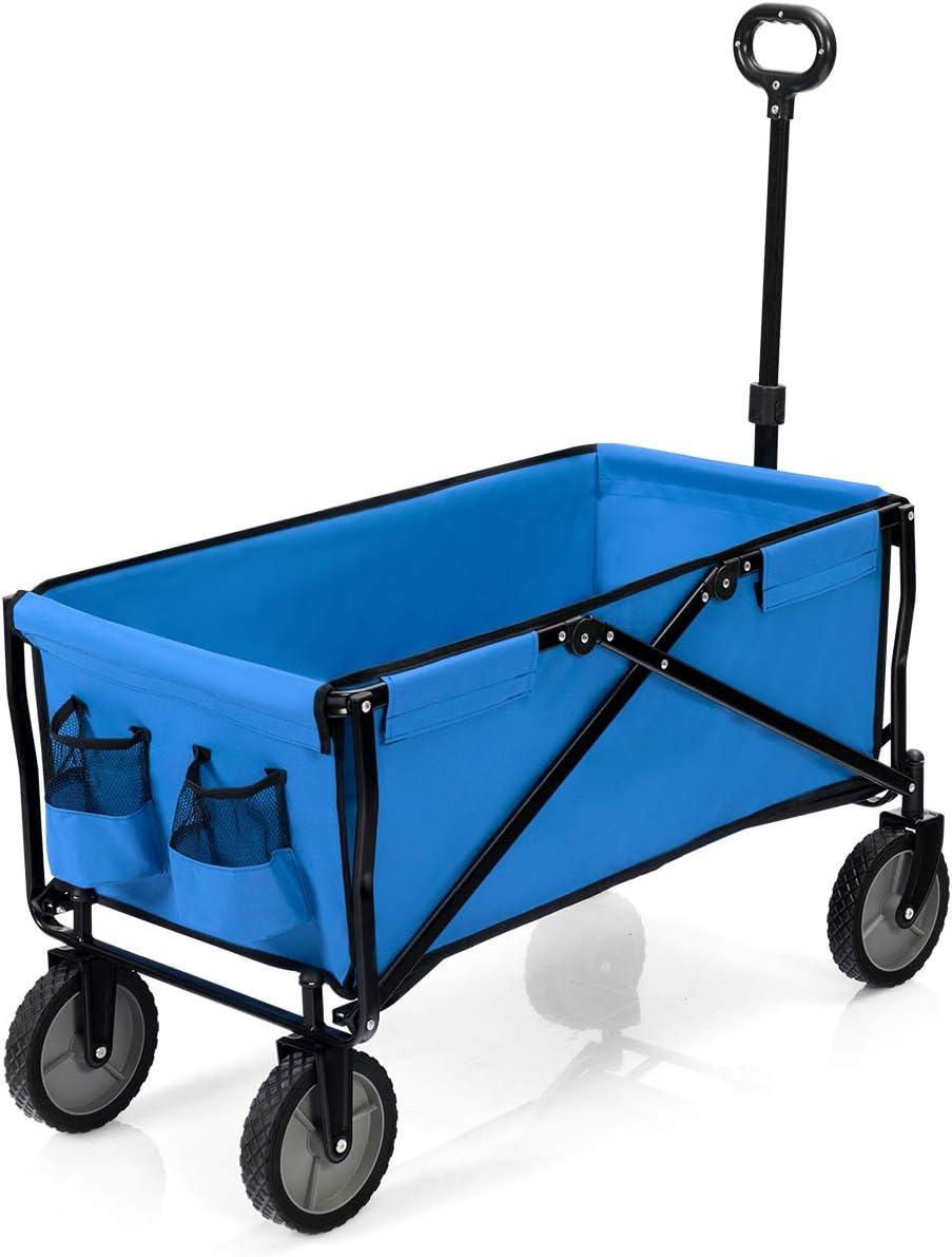 Sac d/'Isolation Thermique pour P/êche Costway Chariot de Jardin Pliable /à 4 Roues Fait en Tissu Oxford Capacit/é de Charge 130KG Chariot /à Main avec Poign/ée R/églable de 78 /à 109cm Camping