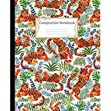 Composition Notebook: Wide Ruled Lined Paper Notebook Journal: Pretty Watercolor Tigers and Rainforest Plants Workbook for Boys Girls Kids Teens ... Back to School and Home College Writing Notes