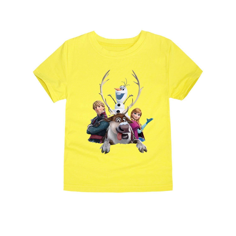 MININ Frozen Girls Solid Color Short Sleeve T-Shirt