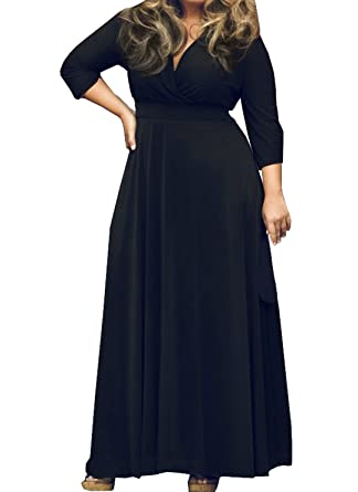 OUFour Ladies Plus Size Cocktail Dresses Evening Party 3/4 Sleeve V Neck Womens Casual