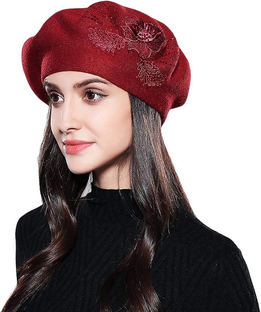 Baijiaye Boina Francés de Mujer Invierno Vasco Boinas de Lana Gorro Beret Beanie Cálido Sombrero de Pintor Elegante Rojo: Amazon.es: Ropa y accesorios