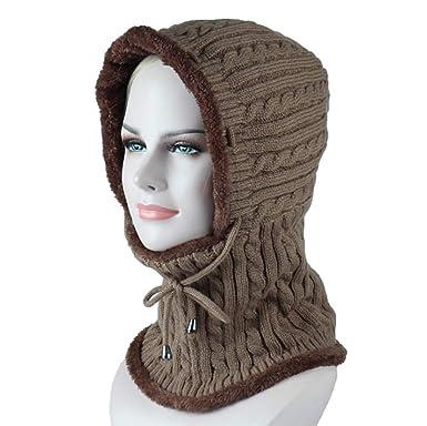 7eac561fa4fa Freesiom Bonnet Echarpe Hiver Unisexe Femme Chaud Tricote Velours Coton  Doux Polaire Fantaisie Swag Mode Fashion