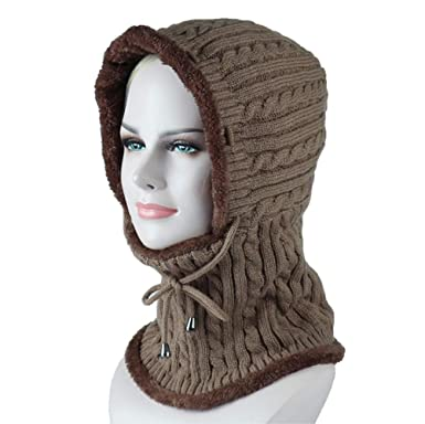 fae4a7ac3801 Freesiom Bonnet Echarpe Hiver Unisexe Femme Chaud Tricote Velours Coton  Doux Polaire Fantaisie Swag Mode Fashion
