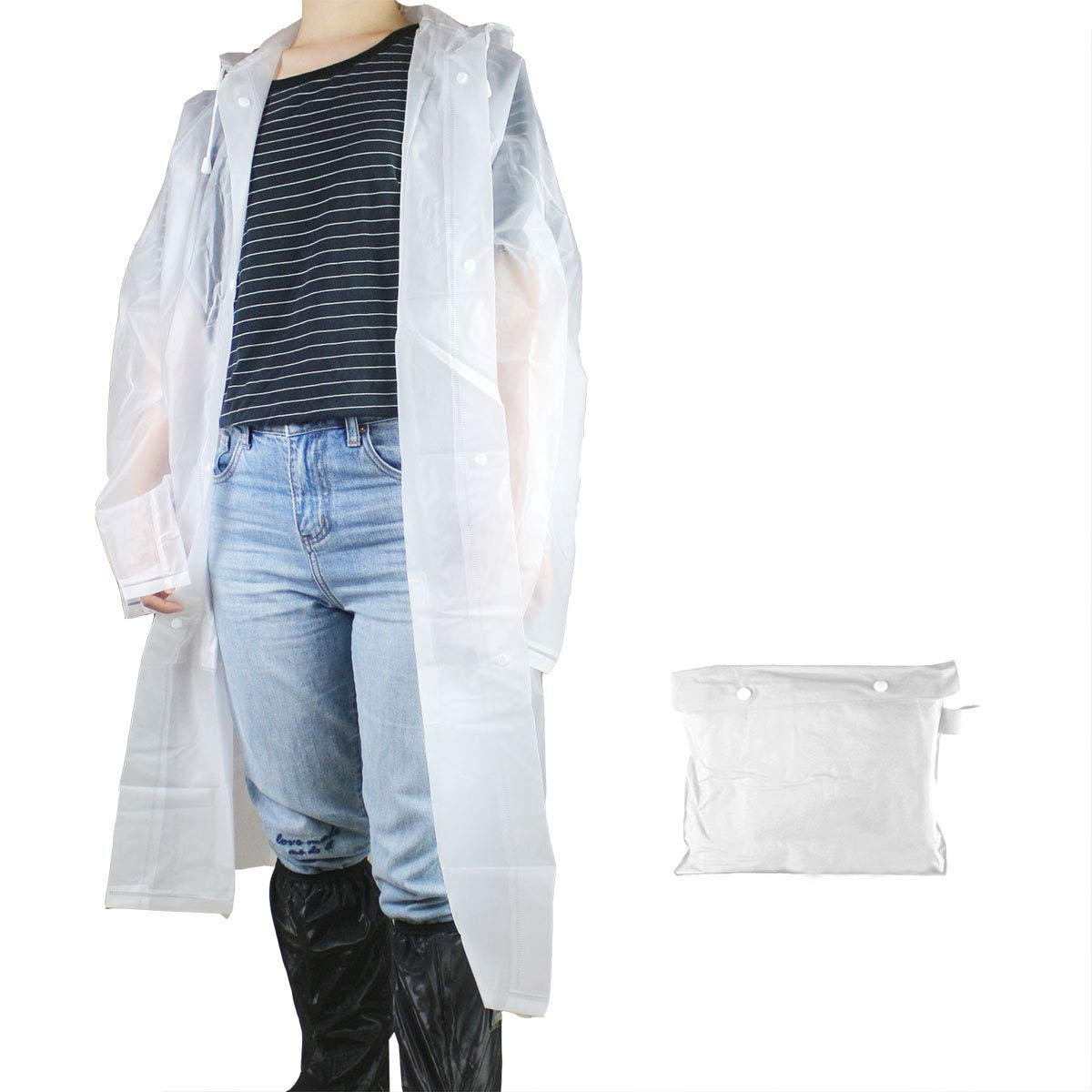 Extra Long Reusable Waterproof Rainwear Frelaxy Portable High Density EVA Rain Poncho Raincoat with Carrying Bag Wide Brim Hood and Pocket