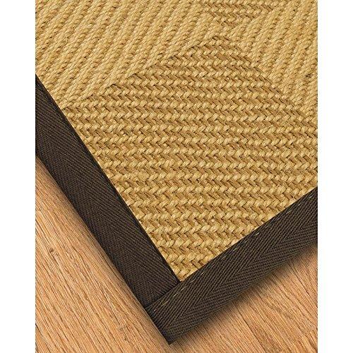 NaturalAreaRugs Natural Fiber Oberon Sisal Rug with Wide Canvas Border, Fudge, 5' x - Wide Canvas Border