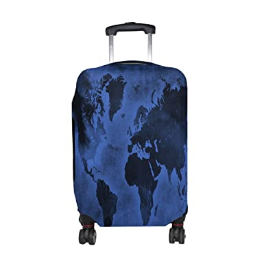 Amazon jennifer dark blue world map travel luggage covers jennifer dark blue world map travel luggage covers suitcase protector fits 18 20 in gumiabroncs Image collections