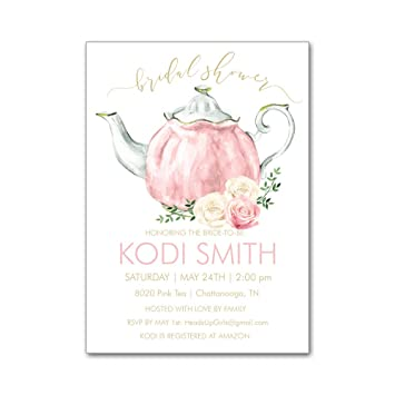 Amazon set of 12 personalized bridal shower invitations and set of 12 personalized bridal shower invitations and envelopes with watercolor tea party teapot and flowers filmwisefo