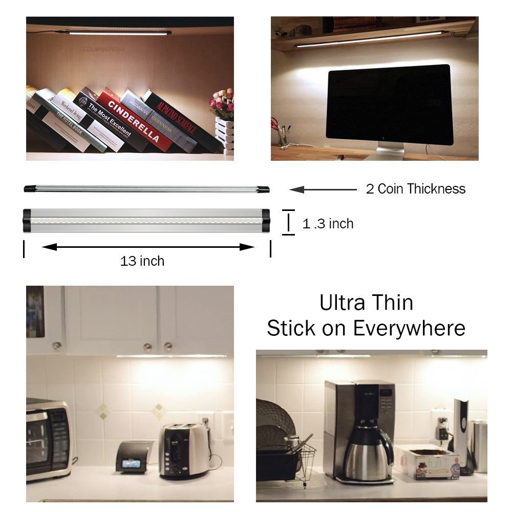 All in One Kit. Easy Installation Natural White 12V//3A 5W//450LM CRI90 Dimmable 2 Coin Thickness LED Light with 42 LEDs 6 Pack Ultra Thin LED Under Cabinet//Counter Kitchen Lighting Plug-in