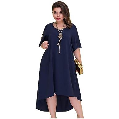 feilongzaitianba Casual Loose Plus Size Summer Dresses Women ...