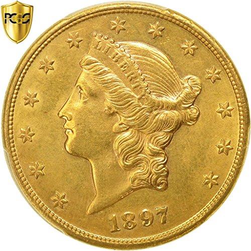 - 1897 S Liberty Head $20, Double Eagle PCGS Genuine - UNC detail