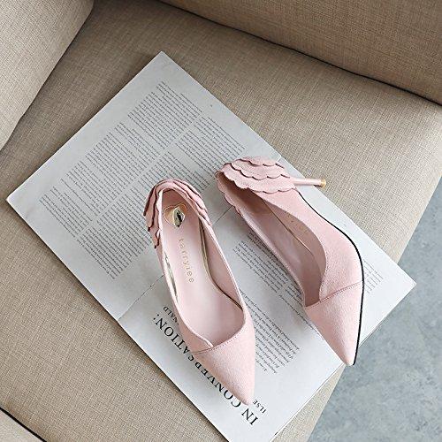 Xue Qiqi Tacones de satén chica fina con luz salvaje carrera de etiqueta único punta zapata, con elegantes zapatos de mujer Rosa