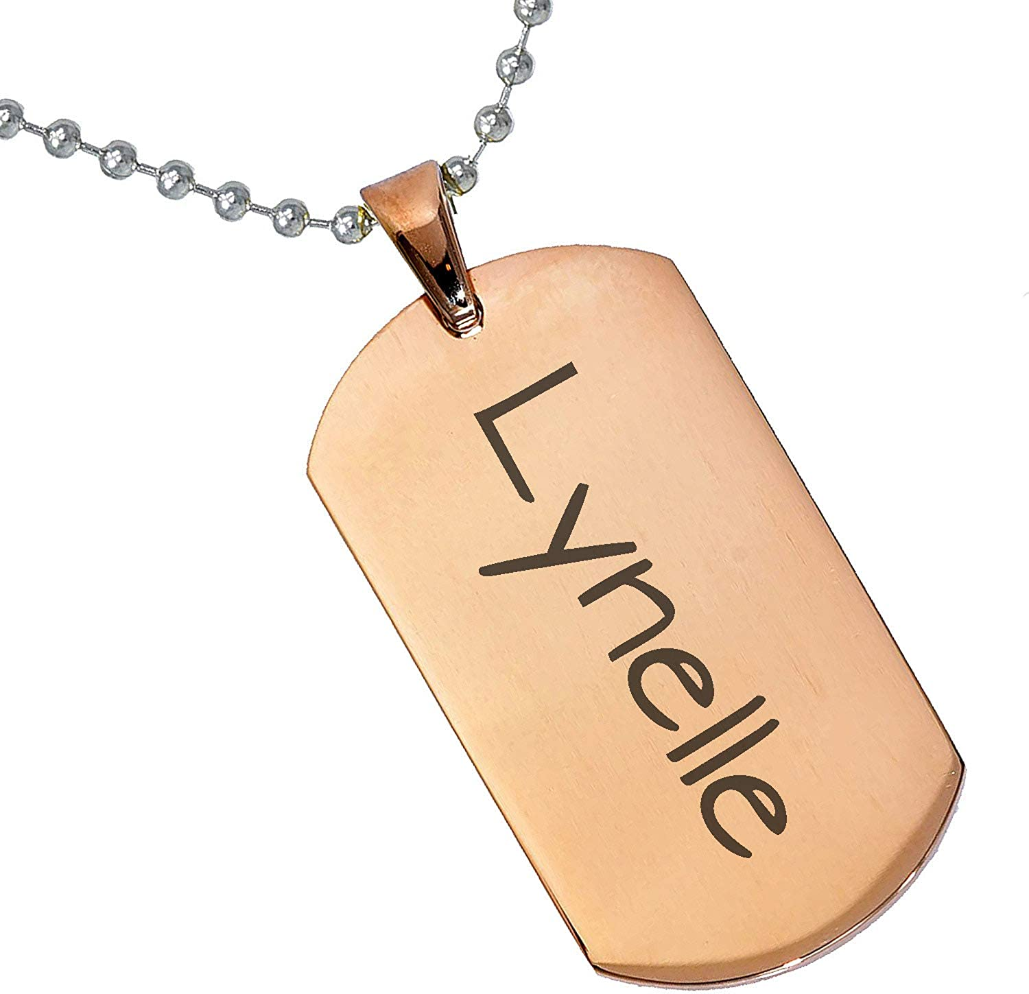 Stainless Steel Silver Gold Black Rose Gold Color Baby Name Lynelle Engraved Personalized Gifts For Son Daughter Boyfriend Girlfriend Initial Customizable Pendant Necklace Dog Tags 24 Ball Chain