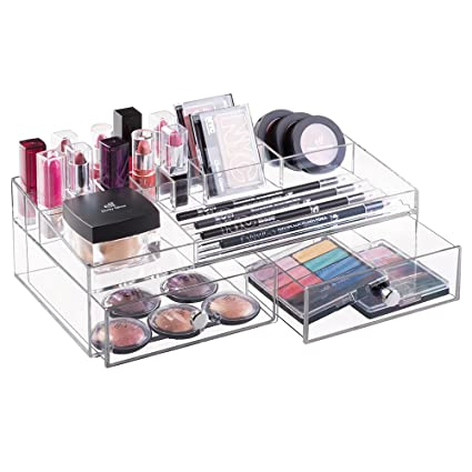 mDesign Organizador de cosméticos transparente – Caja para maquillaje y productos de belleza con compartimentos y