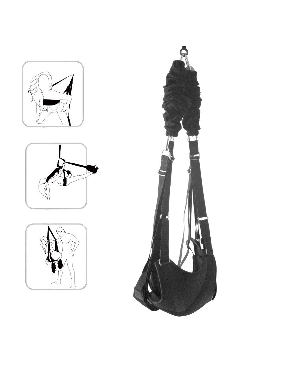 Romantic Ceiling Hanging Swing Set Yoga Swing Séx Swing for Couple Support 220 Ibs Black by Samon
